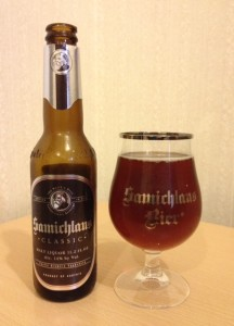 Samichlaus bottle and glass